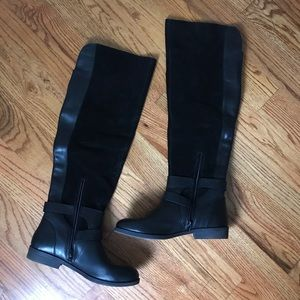 Lucky Brand Black Suede/Leather Riding Boot